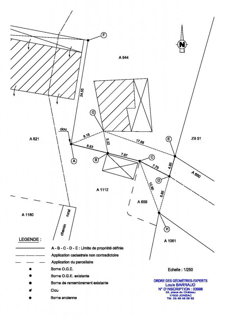 Le bornage amiable - Plan du procès-verbal de bornage