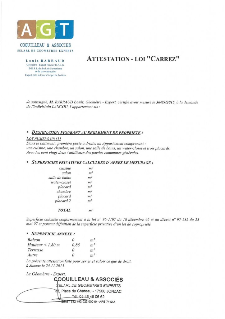 La copropriété - Attestation Loi Carrez