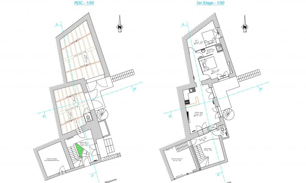 Relevé de bâtiment - Plan des niveaux sur Jonzac